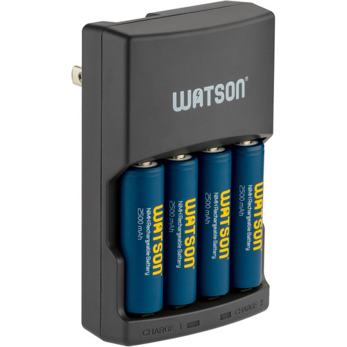 Watson Rapid Charger with 4 AA NiMH Rechargeable Batteries (2500mAh)