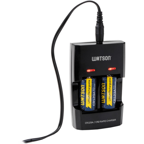 Watson Dual Rapid Charger for 3V CR123A and CR2 Lithium Batteries with 2 CR123A Batteries