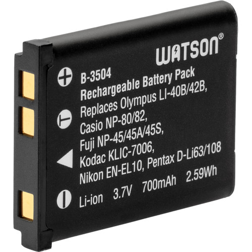 Watson LI-42B / NP-45A / D-Li63 Lithium-Ion Battery Pack (3.7V, 700mAh)