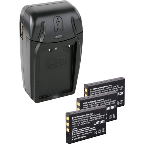 Watson Compact AC/DC Charger Kit with 3 NP-60 Lithium-Ion Battery Packs
