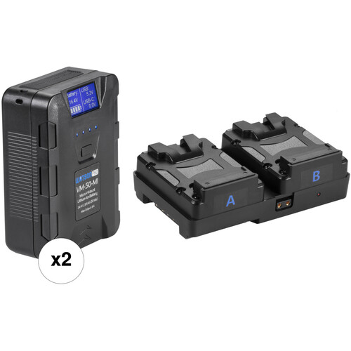 Watson Dual 14.4 Micro V-Mount Battery Kit with Dual Micro V-Mount to V-Mount UPS Plate