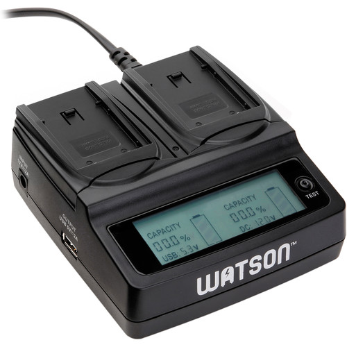 Watson Duo LCD Battery Charger and Battery Adapter Plate Kit for LI-42B/40B, NP-45/45A, or D-Li63