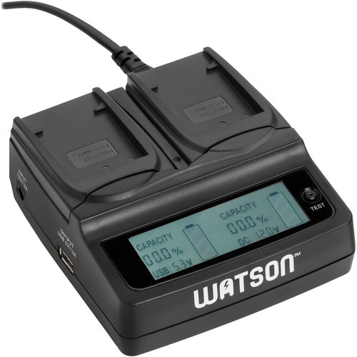 Watson Duo LCD Charger Kit with 2 Battery Adapter Plates for NP-BN1