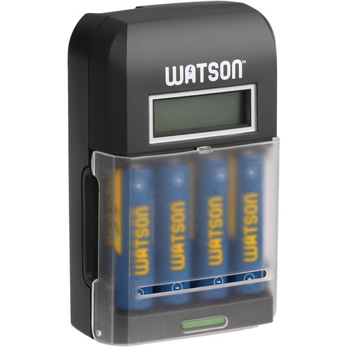 Watson 4-Bay Rapid Charger with LCD and 4 AA NiMH Batteries (2300mAh)