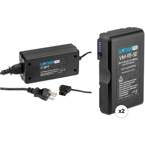 Watson Pro 14.4V 95Wh Slim Li-Ion 2-Battery Kit with Single D-Tap Charger (V-Mount)