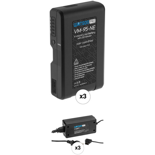 Watson Pro 14.8V 97Wh Li-Ion Battery Intro Kit with 3 x Batteries and Chargers