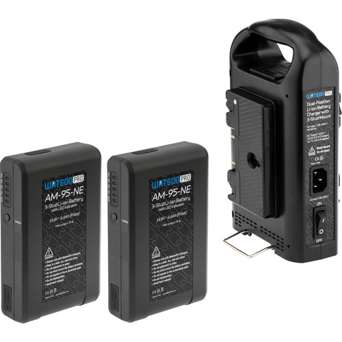 Watson Pro Two 14.8V 97Wh Batteries with LEDs & Dual Position Charger Kit (Gold Mount)