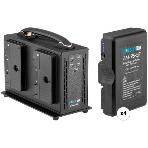 Watson Pro 4 x 95Wh Slim Batteries & Simultaneous Quad Charger Gold Mount Kit