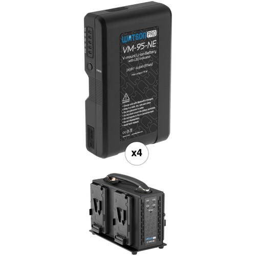 Watson Pro Four 14.8V 97Wh Batteries with LEDs & Quad Position Charger Kit (V-Mount)