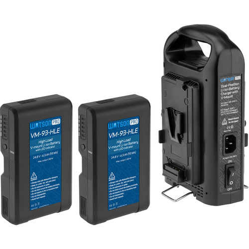 Watson Pro Two 15A High-Load 14.8V 93Wh Batteries & Dual Position Charger Kit (V-Mount)