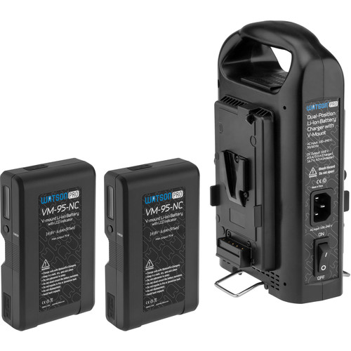 Watson Pro Two 14.8V 97Wh Batteries with LCD & Dual Position Charger Kit (V-Mount)