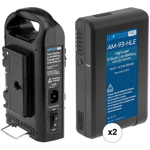 Watson Pro Two 15A High-Load 14.8V 93Wh Batteries & Dual Position Charger Kit (Gold Mount)