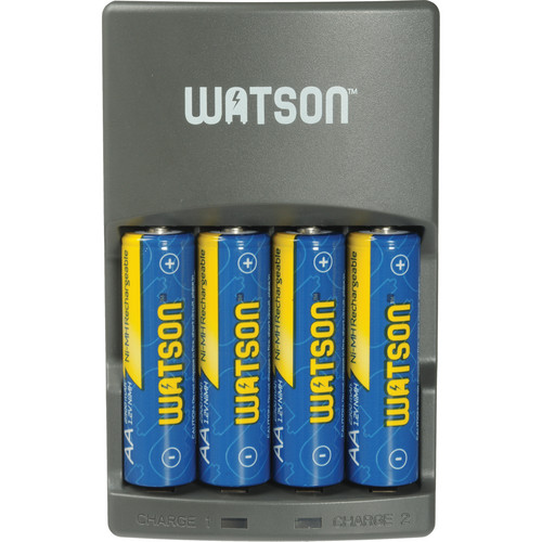 Watson 4-Hour Rapid Charger Kit with 8 AA & 4 AAA NiMH Batteries and C & D Spacer Packs