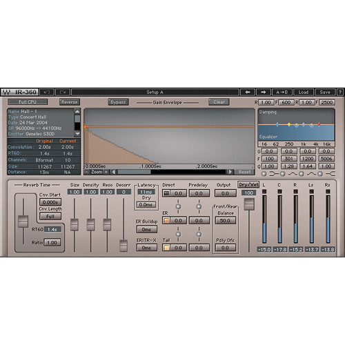 Waves IR360 Convolution Reverb - Surround Reverb Plug-In (Native, Download)