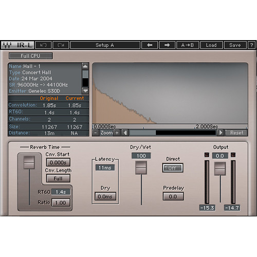 Waves IR-L Convolution Reverb - Stereo Reverb Plug-In (Native/SoundGrid, Download)