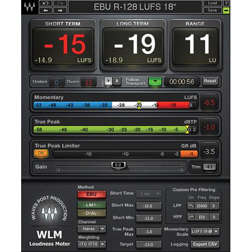 Waves WLM Plus Loudness Meter - Precision Metering Plug-In (Native/SoundGrid, Download)