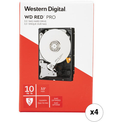 """WD 10TB Red Pro 7200 rpm SATA III 3.5"""" Internal NAS HDD (4-Pack, Retail)"""