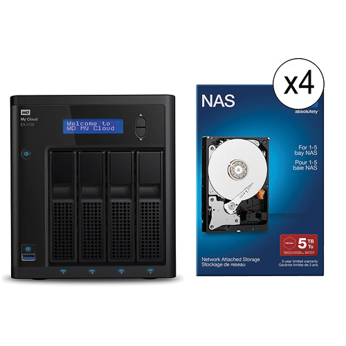 WD 20TB (4 x 5TB) My Cloud Expert Series EX4100 4-Bay NAS with Drives Kit