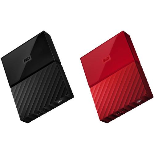 WD 2 x 2TB My Passport USB 3.0 Secure Portable Hard Drive Kit (Black & Red)