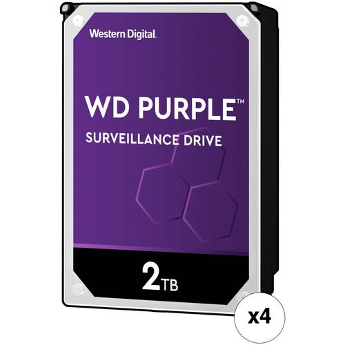 """WD 2TB Purple 5400 rpm SATA III 3.5"""" Internal Surveillance HDD Retail Kit (4-Pack)"""