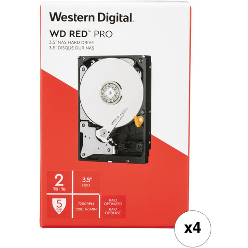 """WD 2TB Red Pro 7200 rpm SATA III 3.5"""" Internal NAS HDD (4-Pack, Retail)"""