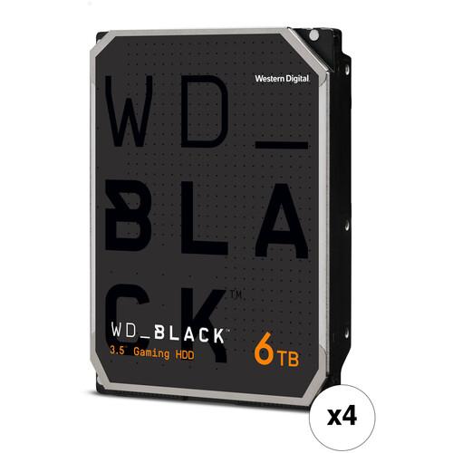 """WD 6TB Black 7200 rpm SATA III 3.5"""" Internal HDD (4-Pack, Retail)"""