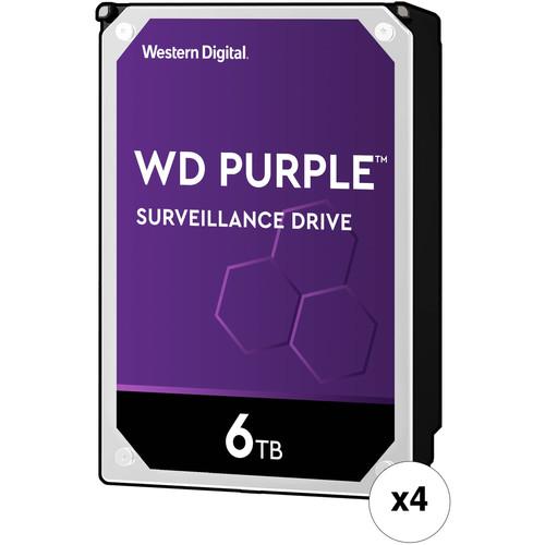 """WD 6TB Purple 5400 rpm SATA III 3.5"""" Internal Surveillance HDD Retail Kit (4-Pack)"""