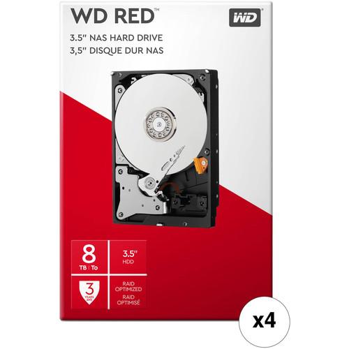 "WD 8TB Red 5400 rpm SATA III 3.5"" Internal NAS HDD Retail Kit (4-Pack)"