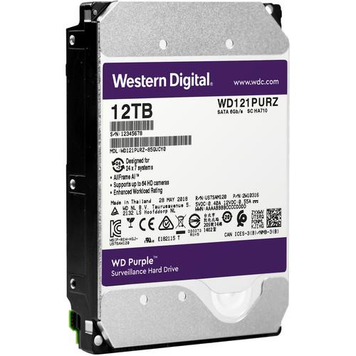 """WD 12TB Purple 7200 rpm SATA III 3.5"""" Internal Surveillance Hard Drive (OEM)"""