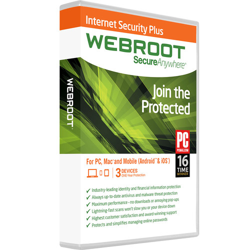 Webroot SecureAnywhere Internet Security Plus (Download, 3 Devices, 2 Years)