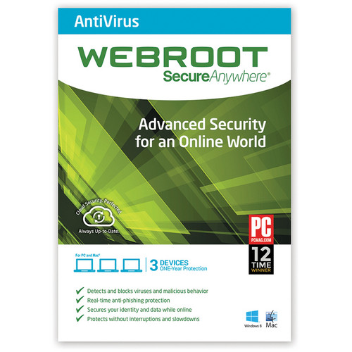 Webroot SecureAnywhere AntiVirus (Download, 3 Devices, 1 Year)