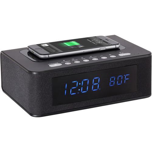 SXE Electronics Bluetooth Speaker Wireless Charging Digital Alarm Clock