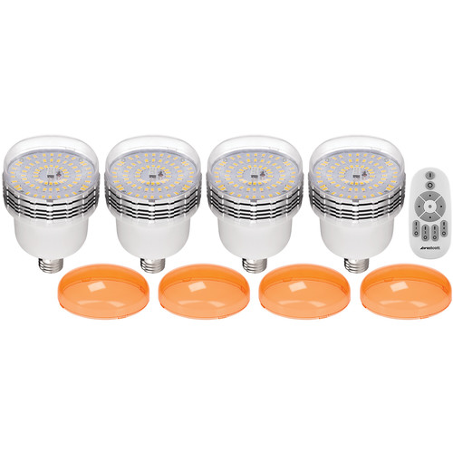 Westcott 45W Dimmable LED Bulbs with 2.4 GHz Wireless Remote (4-Pack)