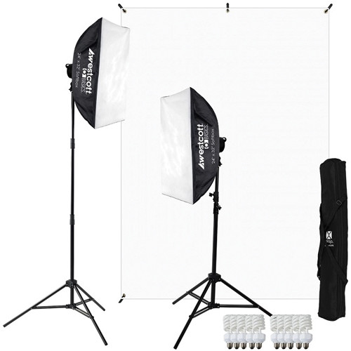 Westcott Basics 2-Light D5 Softbox and White Background Kit