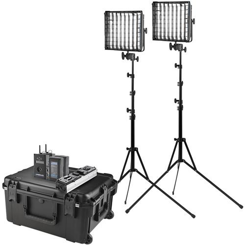 Westcott Flex Cine DMX Bi-Color LED Mat Two-Light Fixture Travel Kit with Batteries and Stands (1 x 1')
