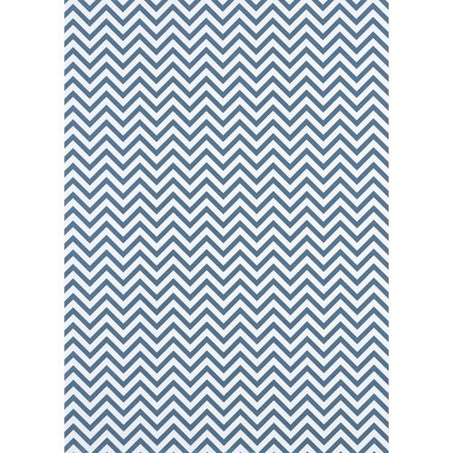 Westcott Narrow Chevron Art Canvas Backdrop with Grommets (5 x 7', Blue)