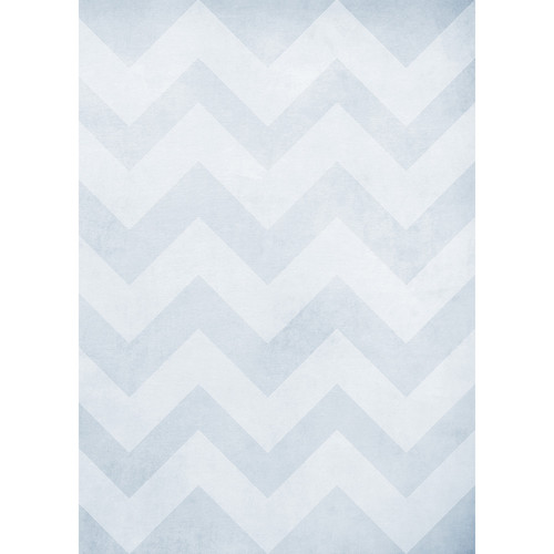 Westcott Washed Chevron Art Canvas Backdrop with Grommets (5 x 7', Light Blue)