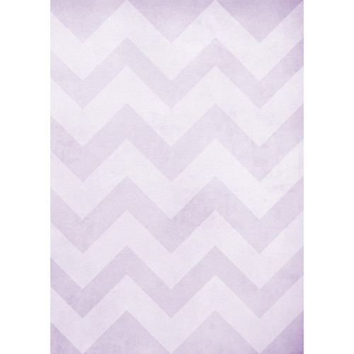 Westcott Washed Chevron Art Canvas Backdrop with Grommets (5 x 7', Light Purple)