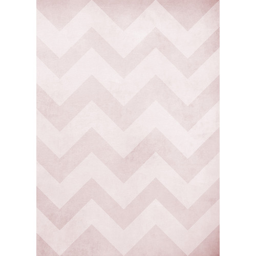 Westcott Washed Chevron Art Canvas Backdrop with Grommets (5 x 7', Light Red)