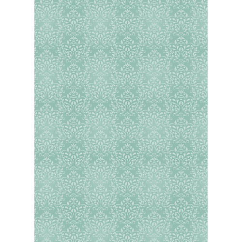 Westcott Leafy Damask Art Canvas Backdrop with Grommets (5 x 7', Turquoise)