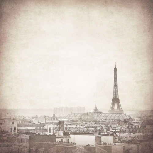 Westcott Parisian Skyline Art Canvas Backdrop with Hook-and-Loop Attachment (3.5 x 3.5', Gray)