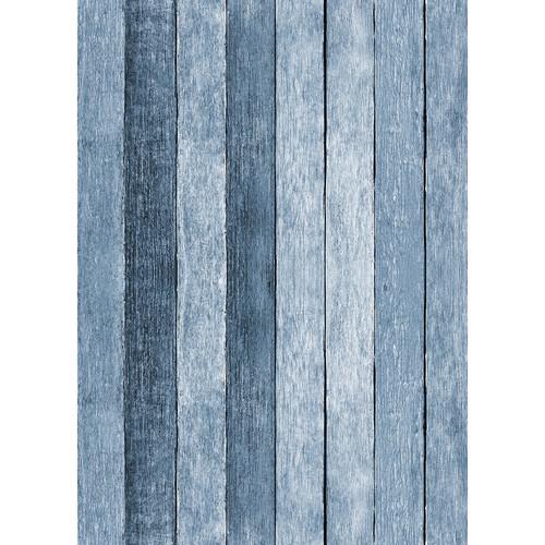Westcott Rustic Wood Art Canvas Backdrop with Grommets (5 x 7', Blue)
