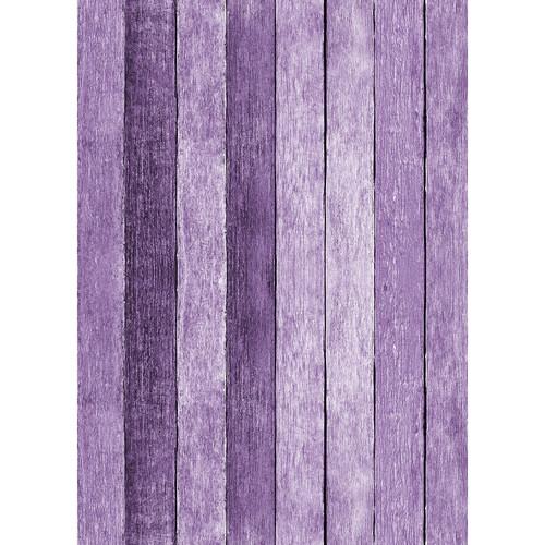 Westcott Rustic Wood Art Canvas Backdrop with Grommets (5 x 7', Purple)