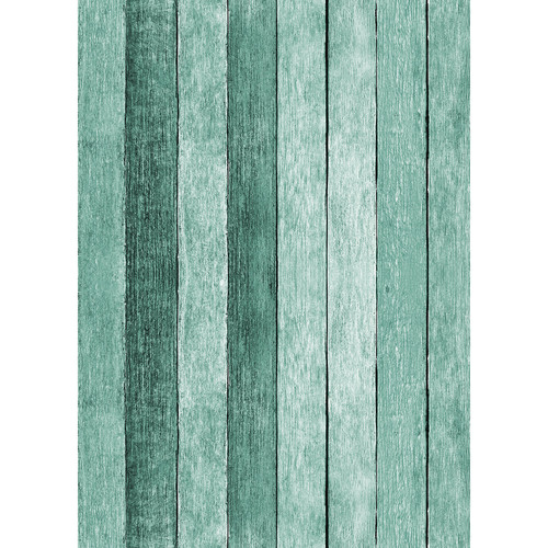 Westcott Rustic Wood Matte Vinyl Backdrop with Grommets (5 x 7', Turquoise)