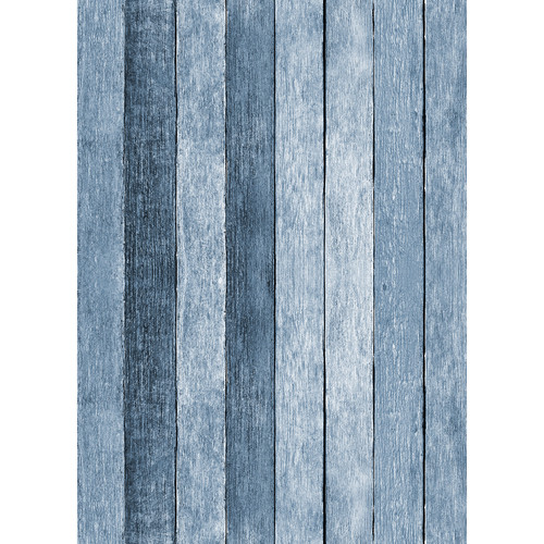 Westcott Rustic Wood Matte Vinyl Backdrop with Grommets (5 x 7', Blue)