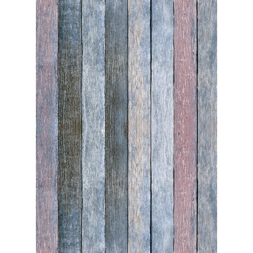 Westcott Rustic Wood Art Canvas Backdrop with Grommets (5 x 7', Vintage Blue)