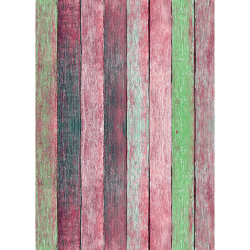 Westcott Rustic Wood Art Canvas Backdrop with Grommets (5 x 7', Vintage Red)