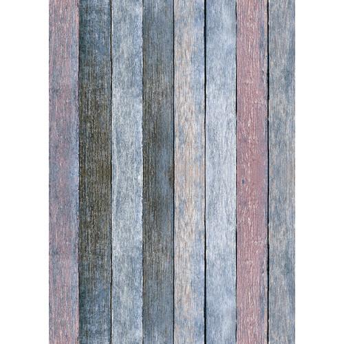 Westcott Rustic Wood Matte Vinyl Backdrop with Grommets (5 x 7', Vintage Blue)