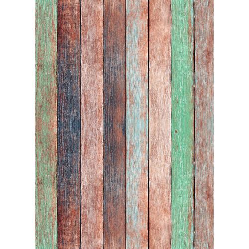 Westcott Rustic Wood Matte Vinyl Backdrop with Grommets (5 x 7', Vintage Orange)