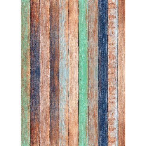 Westcott Rustic Wood Art Canvas Backdrop with Grommets (5 x 7', Bold Orange)